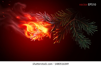 Burning pine tree branch. Realistic vector image. Flaming needles. Alarming scene of forest fire. Burnt spruce, fir, pine, cedar. Fiery conifer. Ignited twig of Christmas tree. Beginning of wildfire