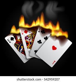 Burning playing cards on black. Vector illustration