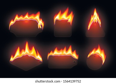Burning price tags realistic vector illustration set. Blank promo stickers on fire, melting shopping labels, badges with text space. Hot sale, special marketing offer design elements pack