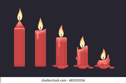 Burning red candle on dark background. Vector flat illustration.