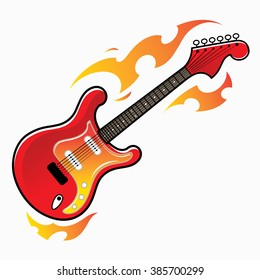 Burning red electric guitar - musical instrument