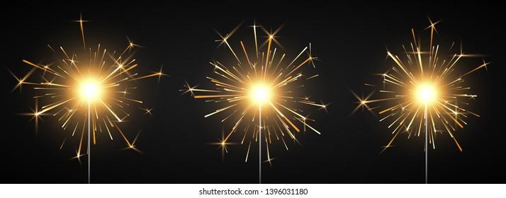 Burning shiny sparkler firework. Bengal fire. Party decor element. Magic light. Vector illustration isolated on black background