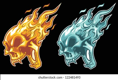 burning skull in fire and ice color