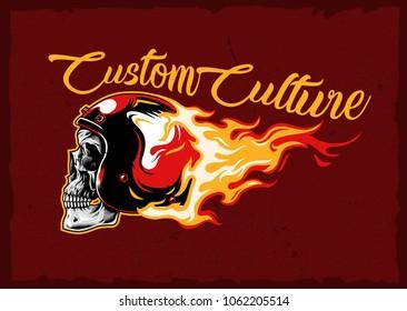 burning skull helmet emblem stock vector illustration
