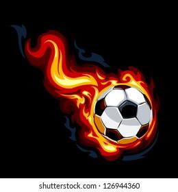 Burning soccer ball on black background. Vector illustration.
