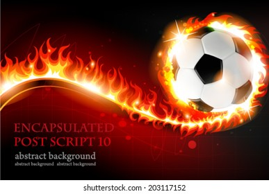 Burning soccer ball on a red background with abstract fire