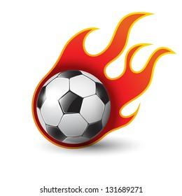burning soccer ball on white eps10 illustration