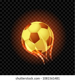 Burning soccer balls isolated on a black transparent backdrop. Vector EPS 10.