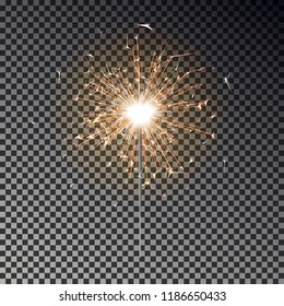 Burning sparkler isolated. Bengal fire vector. New year sparkler candle on transparent background. Realistic light effect. Party holidays backdrop. Magic light. Winter Xmas decoration illustration