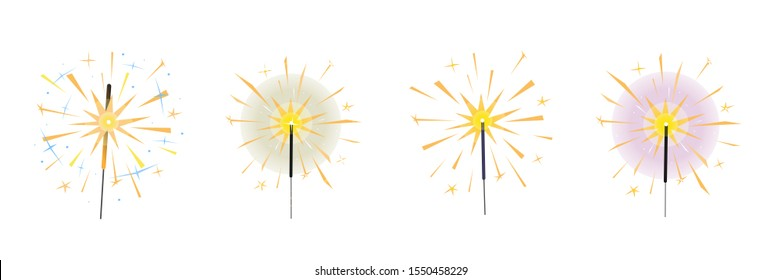 Burning sparklers set isolated on white. Bright yellow indian fireworks with sparks and glow.  Elements for design banner, flyer, card, background for party, birthday, celebration. Vector
