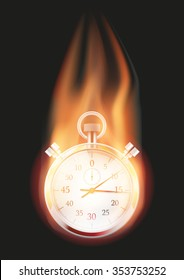Burning Stopwatch with a tail of flame. Vector illustration Isolated on background.