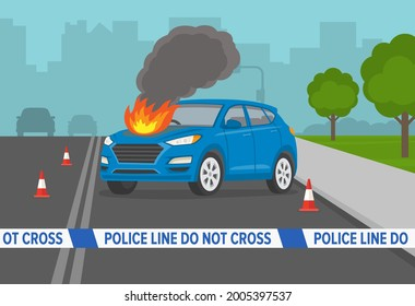 Burning suv car engine hood on city road. Do not cross tape at road accident scene. Police line, do not cross. Perspective view. Flat vector illustration template.