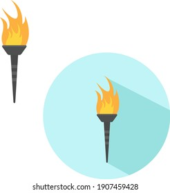 Burning torch, illustration, vector on a white background.
