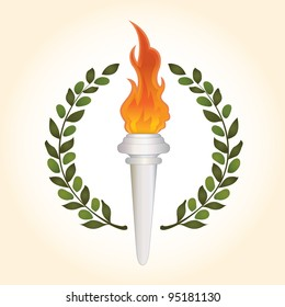 Burning torch with olive leaves