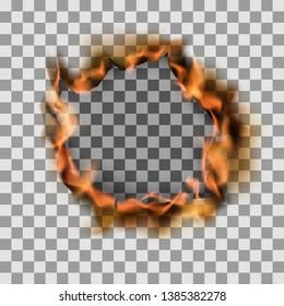 Burning torn hole in paper sheet. Vector illustration on transparent background