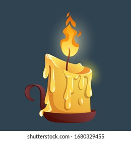 Burning wax candle on a candlestick. Candle for the game interface. Burning candle for game design, web, applications.