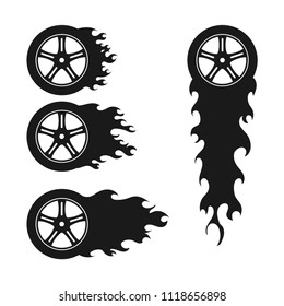 Burning wheel silhouette logo icon vector template