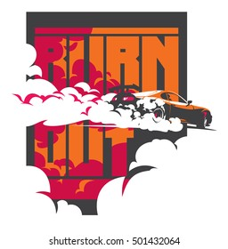 Burnout car, Japanese drift sport car, Street racing, JDM, racing team, turbocharger, tuning. Vector illustration for sticker, poster or badge