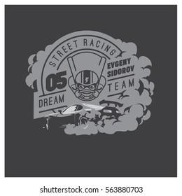 Burnout car, Japanese drift sport car, Street racing, racing team, turbocharger, tuning. Vector illustration for sticker, poster or badge