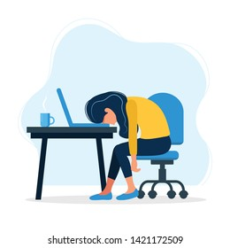 Burnout concept illustration with exhausted female office worker sitting at the table. Frustrated worker, mental health problems. Vector illustration in flat style