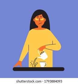 Burnout, depression or anxiety concept. Tired sad girl pours coffee past cup. Female mental health issue, feeling of frustrated. Exhausted sleepy woman with under eyes patches. Vector illustration