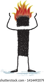 Burnout, isolated on white background. The head of a stick figure is burning. A person who is burnt by work.