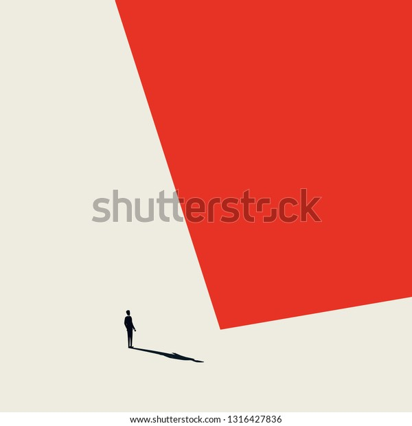 Burnout syndrome business vector abstract concept. Lonely and depressed businessman in minimalist artistic style. Sadness, hopeless situation. Eps10 vector illustration.