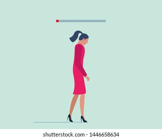 Burnout syndrome concept. Young tired female without work or life energy. Depression and fatigue vector illustration