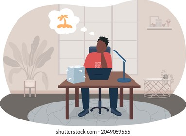 Burnout from work 2D vector isolated illustration. Man sitting at desk thinking of vacation. Depressed flat character on cartoon background. Freelancer in home office colourful scene