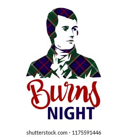 Burns night card with Robert Burns on tartan background.