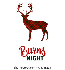 Greeting from scotland images stock photos vectors shutterstock burns night supper card deer on tartan background vector illustration m4hsunfo