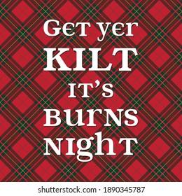 Burns night supper card on red tartan pattern.