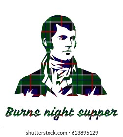 Burns night supper card on tartan background.. Vector illustration.