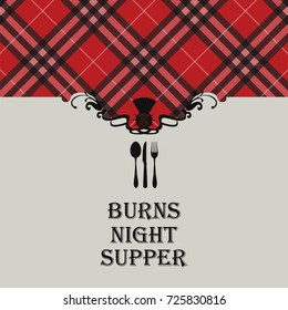 Burns night images stock photos vectors shutterstock burns night supper card with tartan vector illustration m4hsunfo