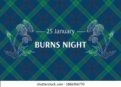 Burns night supper card. Thistle on tartan background. Burns Night - national holiday in Scotland. Template for invitation, poster, flyer, banner, etc.