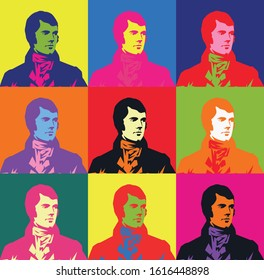 Burns night supper colourful  card . Vector illustration.