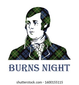 Burns night supper with Robert Burns portrait on tartan background. Vector illustration.