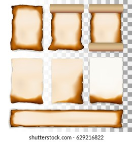 Burnt A4 Paper Sheet Set Isolated On Transparent Background. EPS10 Vector
