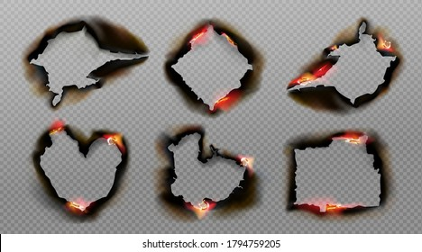 Burnt holes in paper with fire and black ash. Vector realistic set of different shapes frames from scorched and smoldering paper sheets with torn edges isolated on transparent background