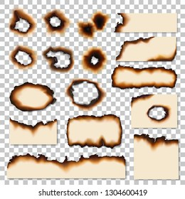 Burnt holes or realistic scorched piece of paper. Dirty edges of parchment sheets left by fire or flame. Damaged surface, old notes remnants or scraps realistic vector isolated on transparent