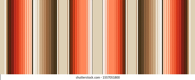 Burnt Orange, Brown  Navajo White South Western Blanket Stripes Seamless Vector Pattern. Mexican Serape Texture with Threads. Native American Textile. Ethnic Boho Background. Tile Swatch Included.