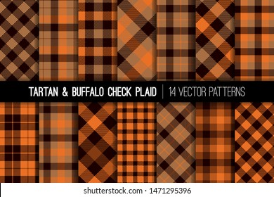 Burnt Orange Brown Tartan and Buffalo Check Plaid Vector Patterns. Halloween Background. Fall Fashion. Hipster Lumberjack Flannel Shirt Fabric Textures. Pattern Tile Swatches Included.