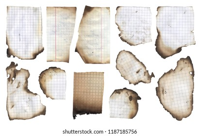 Burnt paper banner background template isolated vector illustration squared notebook, burned school graph pad design elements isolated