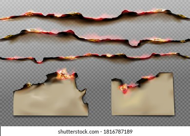 Burnt paper edges and parchment sheets with fire and black ash isolated on transparent background. Vector realistic set of borders and frames from scorched and smoldering paper pages with flame