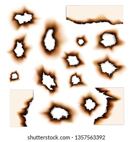 Burnt paper holes isolated vector set. Vector realistic fire scorched and torn edges of paper sheets with burned damages on sides and abstract unburned holes
