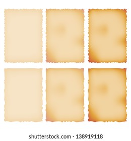 Burnt Paper Set. Torn Border. Isolated On White. Vector Illustration