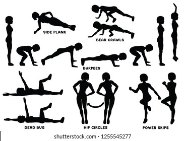 Burpees, bear crawls, hip circles, dead bug, side plank, power skips. Sport exersice. Silhouettes of woman doing exercise. Workout, training Vector illustration