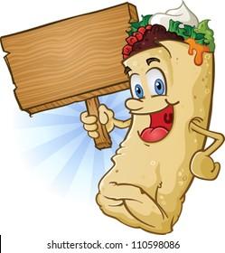 Burrito Cartoon Character Holding Sign