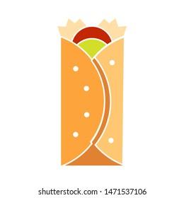burrito icon. flat illustration of burrito - vector icon. burrito sign symbol