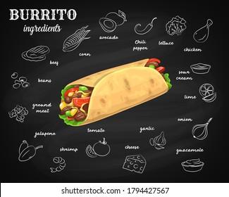 Burrito ingredients, chalkboard menu fast food tortilla wrap, Mexican cuisine. Hand drawn sketch burrito ingredients chicken, avocado and chili pepper in tortilla roll restaurant menu on chalk board